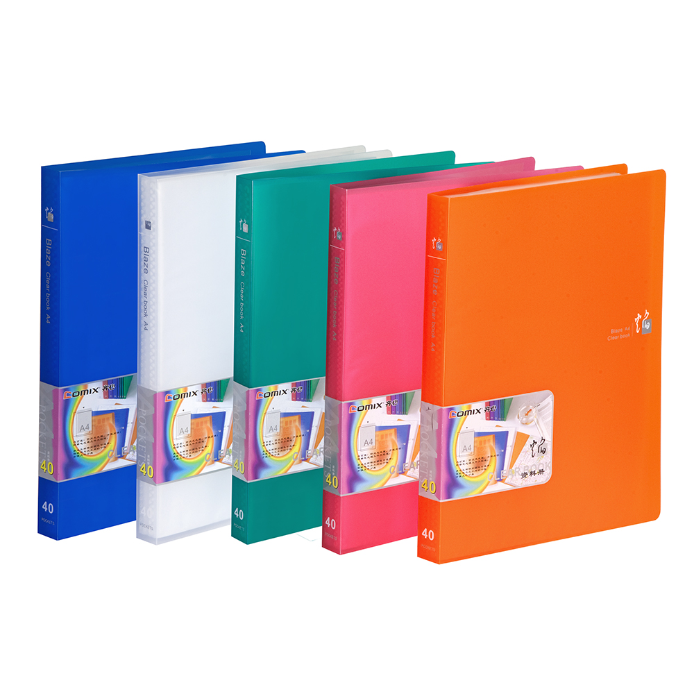 New A4 40 Pockets clear Paper File Display Book ORANGE